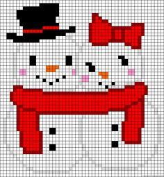 Snowman couple perler bead pattern