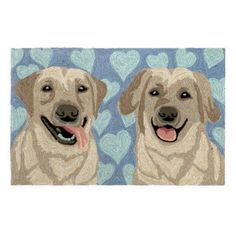 Frontporch Puppy Love Rug-Color:Blue,Size:30 inchLx20 inchWx0.375 inchH, Beige