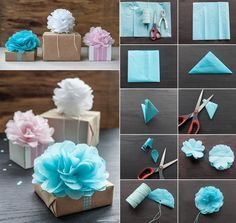 A refreshingly new take on our favorite tissue paper flowers. Great present toppers!