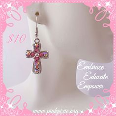 Shop our dazzling pink earrings for an added sparkle to your outfit! #humpdayshopping #Nonprofit #earrings