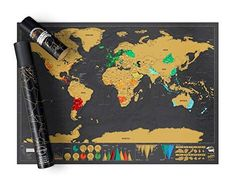 Scratch off travel map world destinations to reveal the colorful political map underneath. The best mapping detail you will find for this scratch map world poster.