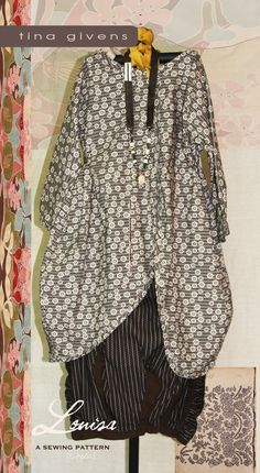 Tina Givens pattern.  I like the fabric with some sheen and the skirt is gathering to contrasting vertical strips just at the hem.  Bring in the volume a bit  .LOUISA TUNIC SHIRT & SKIRT 6041 PRINT