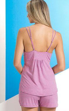 ANTONELA - Peças que te valorizam. Modal com Lycra e exclusivos detalhes. Modal com Lycra listrados exclusivos. Detalhe de novas alças duplas e franzido nas costas.