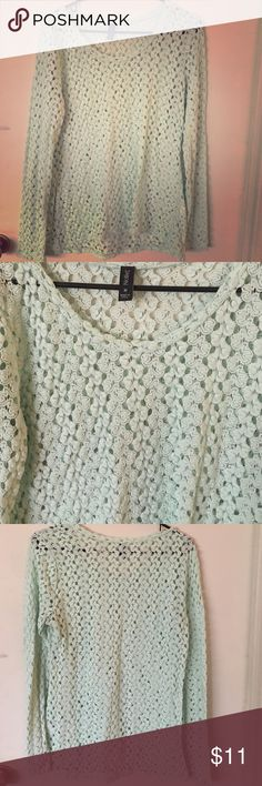 Teal Mint Sweater This teal mint colored sweater is in perfect condition. The pattern is small holes throughout so that your undershirt shows. This sweater is very stylish. It's made of 70% polyester and 30% cotton. Nollie Sweaters Shrugs & Ponchos