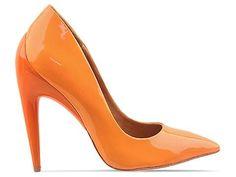 L.A.M.B. Jocelyn Orange Patent Design works No.1474 |Orange Heels|