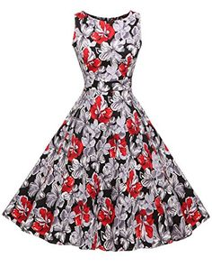ACEVOG Elegant Damen aermellose 1950er Retro Vintage Flor...…