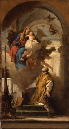 """Never say, """"What great things the Saints do,"""" but, """"What great things God does in His Saints.""""(Maxims and sayings / April 5th) / [http://www.oratorian.org/] // The Virgin Appearing to Saint Philip Neri / Aparición de la Virgen ante San Felipe Neri // 18th Century // Francesco Lorenzi //  La Salle University Art Museum"""