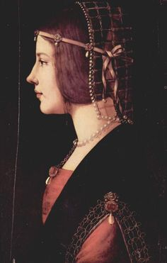 Portrait of a Lady, painted by Giovanni Ambrogio de Predis cirka 1490, and thought to be Beatrice D'Este (1475-1497), Duchess of Bari and later of Milan.