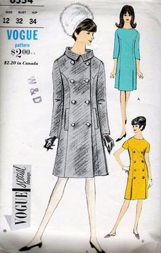 1960s Mod Coat and Dress Pattern Vogue Special Design 6554 Classic Audrey Style Slim Double Breasted Coat Stand Up Collar, Slim Dress Low Pleats UNCUT Bust 32