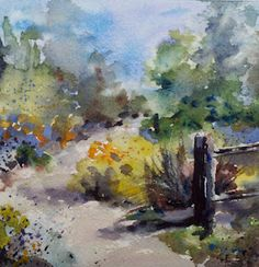 """Arlington Garden Path""  watercolor (5.5"" x 5.5"") by Julie Hill"