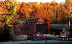 The covered bridge at Cataract Falls  located in northern Owen County in the west central part of the state of Indiana.  part of the Lieber State Recreation Area.