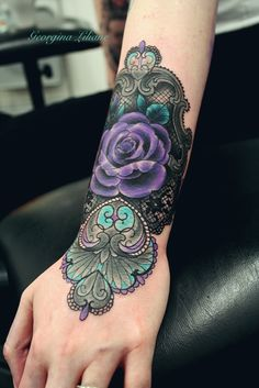 Purple rose tattoo. Black lace tattoo