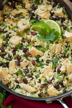 One Pan Cilantro Lime Chicken and Rice with Black Beans