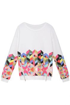 55dd904b17 White Zipper Detail Colorful Geometric Print Sweatshirt Sweatshirts