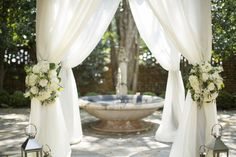 similar to this, but tied with that lacy burlap would be super fabulous!