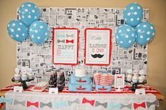 Fun, simple idea for a Little Man First Birthday Party backdrop (or other similar theme) - from Project Nursery