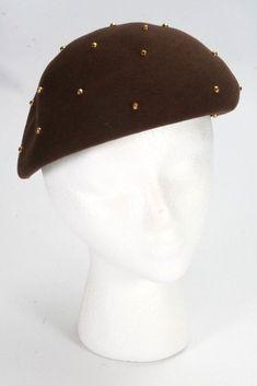 5b8bba2a2eb30 La Rose Hats New York Brown Doeskin Felt 100% Wool Beret Gold Tone Studs Hat