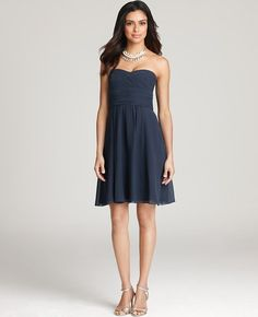 Ann Taylor - AT Sale Weddings Events - Silk Georgette Ruched Bustier Bridesmaid Dress