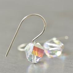 April Birthstone Diamond Swarovski crystal earrings || http://southpawonline.com/products/er-helix