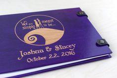 Nightmare Before Christmas, Jack and Sally, Purple Guest Book, Halloween, Fall Wedding, Guestbook, Corpse Bride, Tim Burton