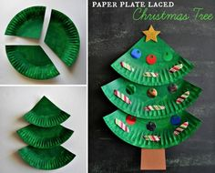 Paper Plate Laced Christmas Trees. Great activity to do with kids for the holidays!!!!