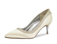 Brautschuh - Maddie - Satin/Fine Glitter - 6cm Absatz Ausgefallener Brautpumps aus der Rainbow Club Glitter Collection Kombinati...