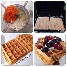 Desayuno rico, rápido y saludable. Waffles de zanahoria  Estos waffles de avena y zanahoria son perfectos, ideales, con un buen aporte de proteínas magras por las claras y una cantidad adecuada de carbohidratos buenos. Lo mejor es que su sabor es increíble, deben probarlos.  Ingredientes para 2 waffles. -3 claras de huevo grande -1/4 de taza de zanahoria rallada finita -2 cdas de avena en polvo -1/2 cdta de polvos de hornear -Endulzante  Para poner encima. -Salsa de chocolate sin azúcar…
