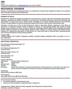 resume format for mechanical engineering