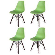 Set-of-4-Mid-Century-Modern-Eames-Style-DSW-Dining-Side-Chair-Walnut-Wood-Base $330 eBAY
