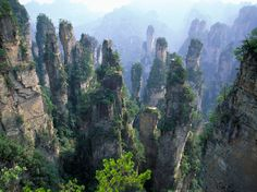 """Wulingyuan National Park: People from all over the globe go to the Wulingyuan National Park via Zhangjiajie for a glimpse of tall quartzite sandstone pillar-like mountains. If you have seen """"Avatar,"""" you have seen Zhangjiajie. Zhangjiajie, Tenerife, Tianzi Mountains, Places Around The World, Around The Worlds, Beautiful World, Beautiful Places, Amazing Places, Avatar"""
