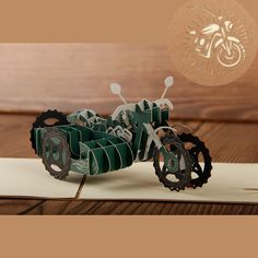 motor tricycle 3D laser cut pop up paper postcards holiday vintage anime custom greeting gift cards Christmas gifts wishes 5029K