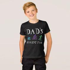 #Dad's Biggest Fan Triathlon Ironman Swim Bike Run T-Shirt - #cool #kids #shirts #child #children #toddler #toddlers #kidsfashion