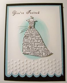 Super Bridal Shower Cards Handmade Brides Stampin Up Ideas Wedding Shower Cards, Wedding Shower Invitations, Wedding Cards, Invites, Dress Card, Wedding Anniversary Cards, Scrapbook Cards, Scrapbooking, Stampin Up Cards