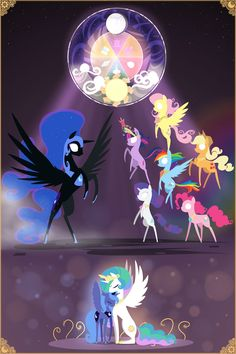 Luna Celestia Twilight Sparkle Applejack Rainbow Dash Fluttershy Pinkie Pie Rarity