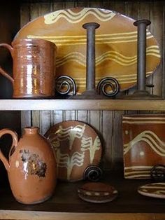 redware like we have at the fort Country Interior, Country Decor, Old Crocks, Glazes For Pottery, Glazed Pottery, Sgraffito, Vintage Pottery, Country Primitive, Plates