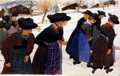 'Girls Going to Mass,' 1906, Ernest Bieler Swiss Painter, 1863-1948.