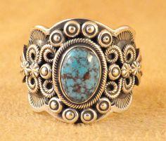Handmade ring, with natural rare gem grade Nevada Blue Turquoise, by Navajo artist Darrell Cadman.