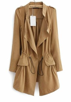 Khaki Long Sleeve Epaulet Drawstring Trench Coat -- love this!