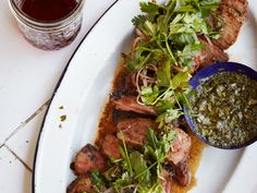 Coffee-Rubbed Strip Steaks with Chimichurri Sauce   Fresh and fragrant chimichurri is both a dressing for the salad and a dipping sauce for the steak.
