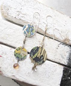 Asymmetrical Green and Blue Vintage Tin Earrings- Lightweight-Artsy by eaststreettins on Etsy