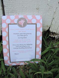 Giraffe Birthday Invitation -