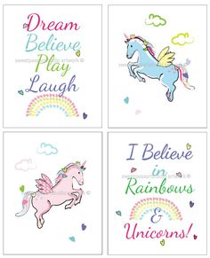 Girls Unicorn Decor Unicorn Bedroom Art by sweetpeasartstudio2