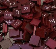 Maroon Scrabble Tiles PICK YOUR OWN- .20 - .35 cents - Scrabble Tiles Wooden Set