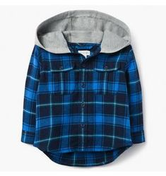 9d10d40195f3 Baby Boy Black Ombre Plaid Shirt by Gymboree Hooded Flannel