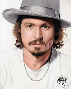 Drawing Johnny Depp Make by Heather Rooney Colored Pencil Portrait, Colored Pencil Artwork, Color Pencil Art, Colored Pencils, Amazing Drawings, Beautiful Drawings, Beautiful Artwork, Amazing Art, Celebrity Drawings