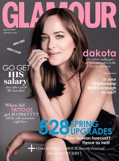 Actress Dakota Johnson flashes a smile on the March 2017 cover of Glamour UK. Grab the latest issue from https://www.magazinecafestore.com/glamour-uk-magazine.html  #Fashionmagazine #DakotaJohnson #glamourUK #glamourmarch2017 #fashionmag #Style #look