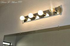 New bath room vanity lighting makeover diy ideas Bathroom Light Bar, Vanity Light Bar, Vanity Light Fixtures, Diy Light Fixtures, Bathroom Vanity Lighting, Bathroom Styling, Bathroom Fixtures, Painting Light Fixtures, Bath Light