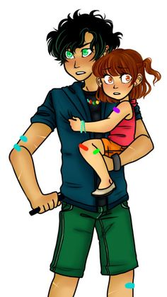 """solbabydraws: """"""""Alright kiddo,"""" Percy started, adjusting his sister's weight in his free arm as he pulled riptide from his pocket. His eyes never leaving the ominous moving shadows that started to form around them. """"I need you to hang on tight. We're..."""