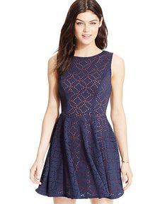 B Darlin Juniors' Laser-Cut Contrast Fit-and-Flare Tank Dress - Juniors Dresses - Macy's