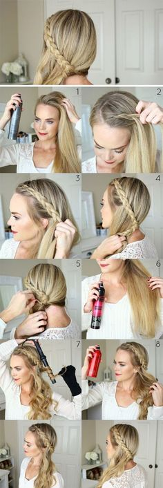 Side simple French braid off the shoulder